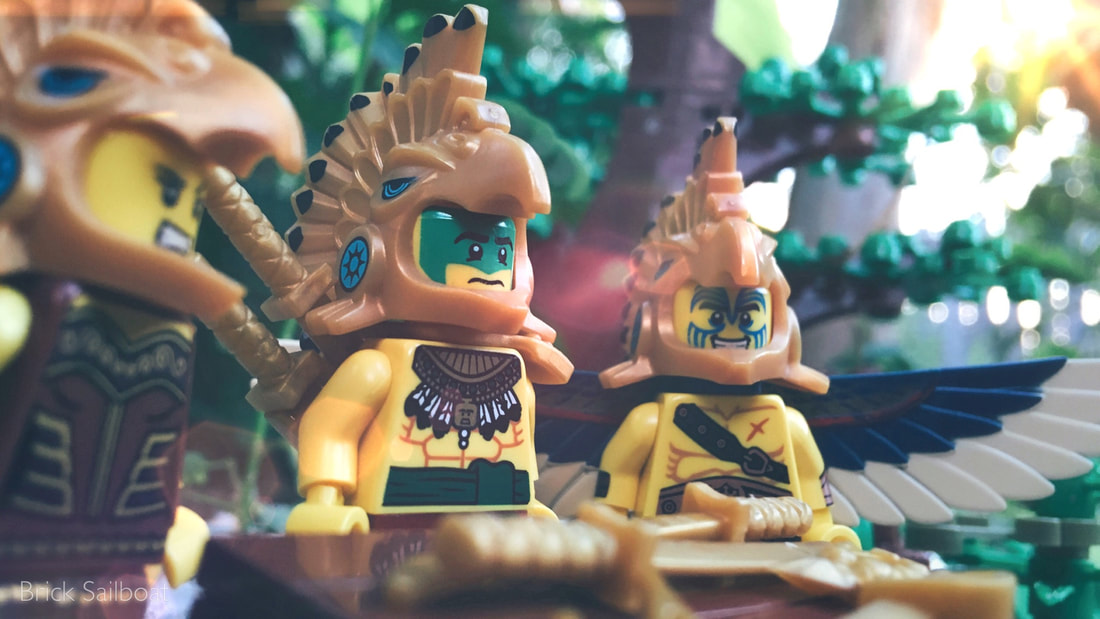 LEGO Aztec warriors contemplate how to catch their Chima adversaries...