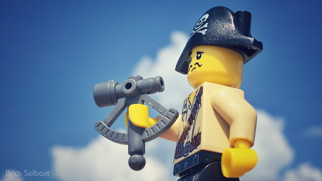 A LEGO pirate trying to figure out how to use a sextant