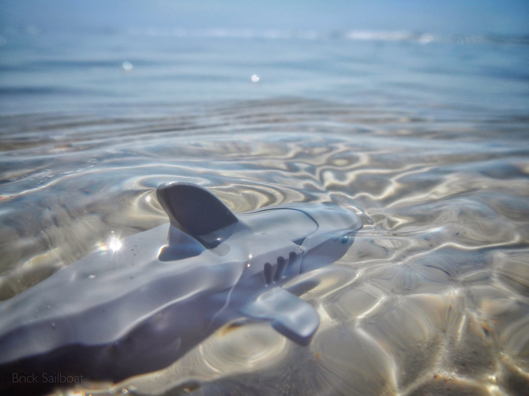 A LEGO shark swimming near the Outer Banks, North Carolina