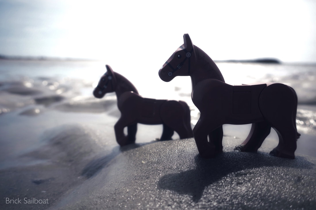 Toy horses on the beach in Florida