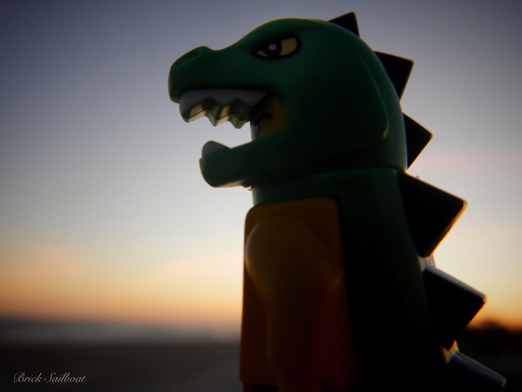 LEGO pirate in a Dinosaur costume